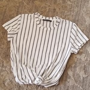 Brandy Melville Black and White Striped Tee